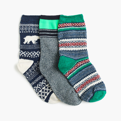 Boy's Fair Isle polar bear socks three-pack