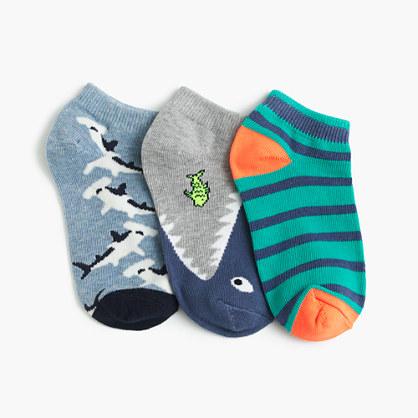 Boys' shark ankle socks three-pack