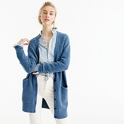 Stretch bouclé cardigan sweater