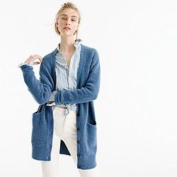 Stretch bouclé cardigan sweater