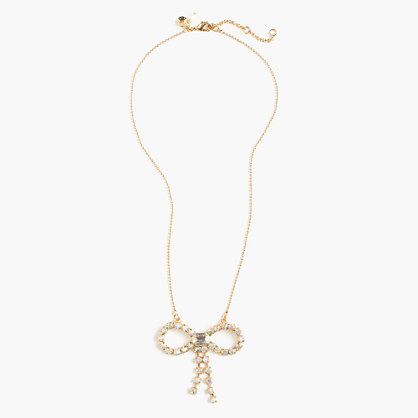 Girls' gem bow necklace