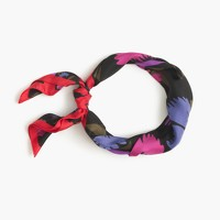 Italian silk square scarf in painted pansy print