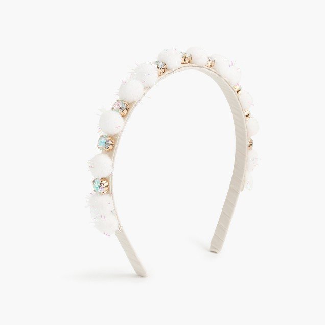 Girls' pom-pom and crystal headband