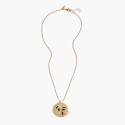 Girls' glitter emoji necklace