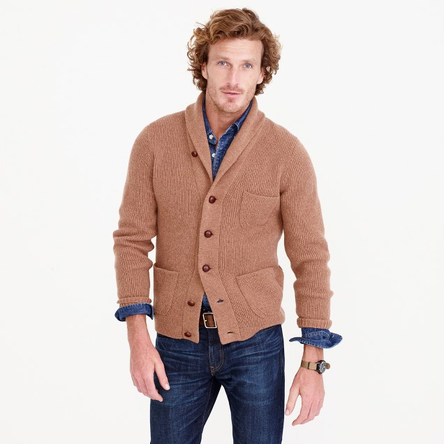 Lambswool three-pocket cardigan sweater