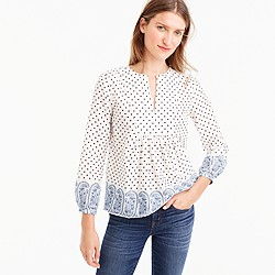 Tall popover top in polka-dot paisley print