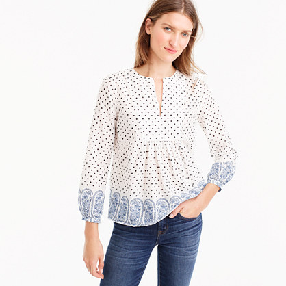 Petite popover top in polka-dot paisley print