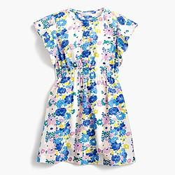 Girls' flutter-sleeve dress in vintage floral