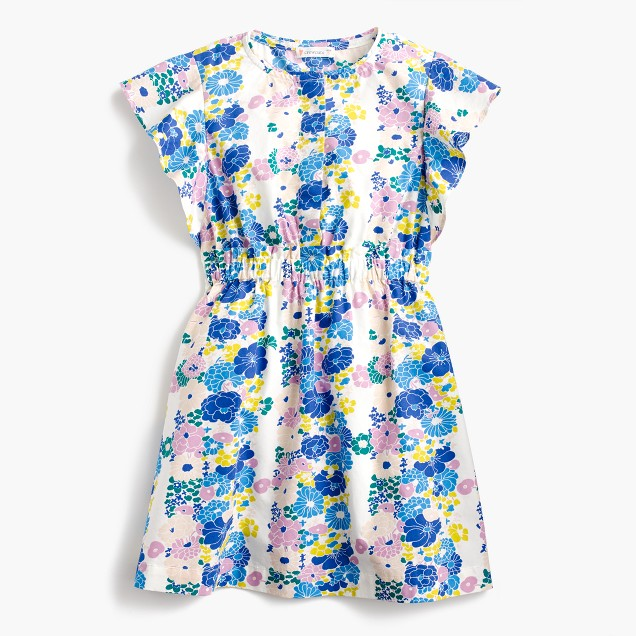 Girls' flutter-sleeve dress in vintage floral
