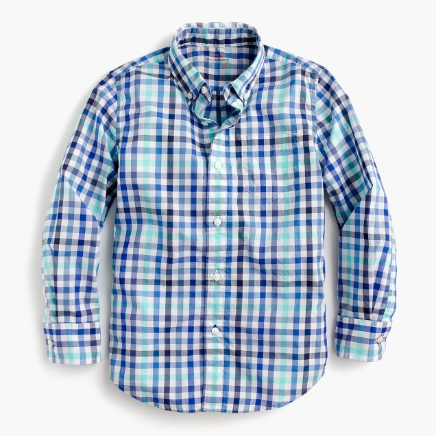 Kids' Secret Wash shirt in multi blue check