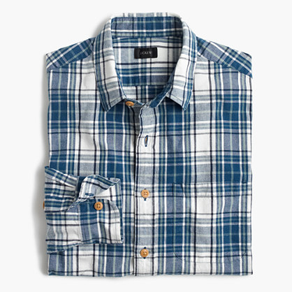 Tall slub cotton shirt in naval blue plaid