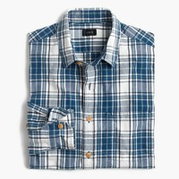 Slim slub cotton shirt in naval blue plaid