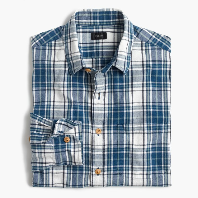 Slub cotton shirt in naval blue plaid