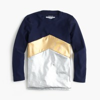 Girls' rash guard in colorblock metallic