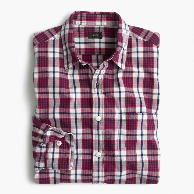 Slim slub cotton shirt in red check