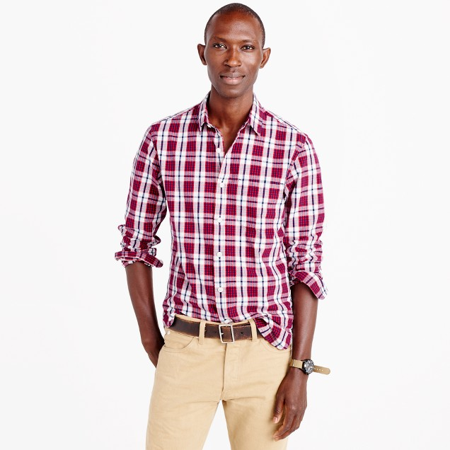Slim slub cotton shirt in red check
