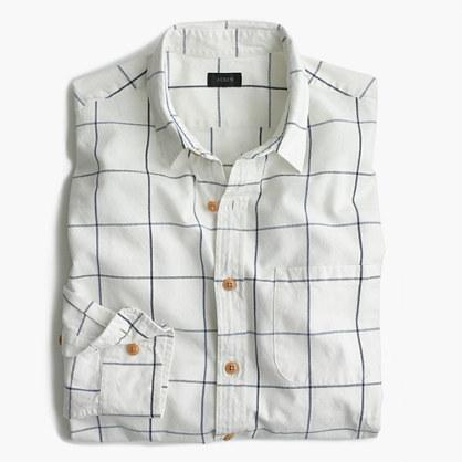 Slub cotton shirt in windowpane
