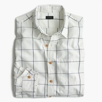 Slim slub cotton shirt in windowpane