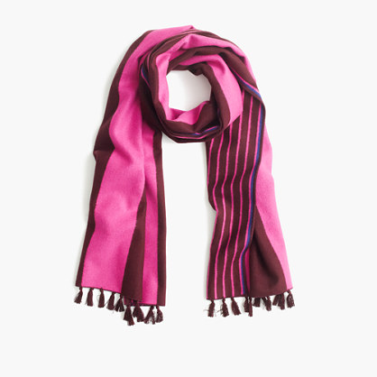 Brushed silk striped scarf