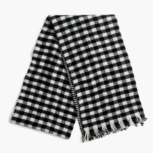 Double-faced plaid-and-houndstooth scarf