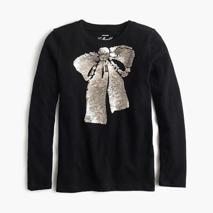 Girls' sequin bow T-shirt
