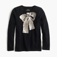 Girls' sequin bow T-shirt