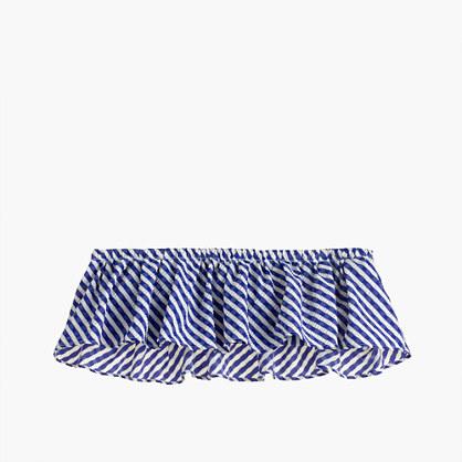 Ruffle bandeau bikini top in Italian seersucker