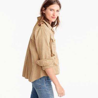 Petite garment-dyed safari shirt jacket