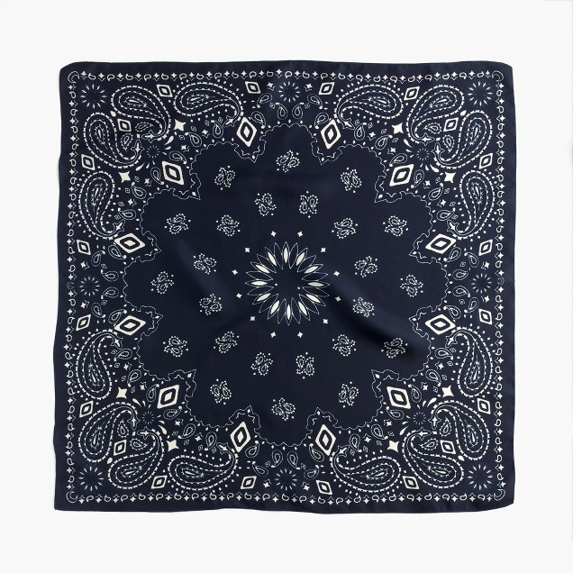 Italian silk square scarf in navy paisley print