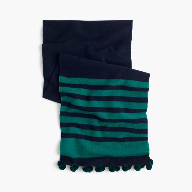 Striped scarf with pom-poms