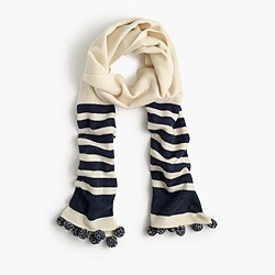 Striped scarf with pom-poms