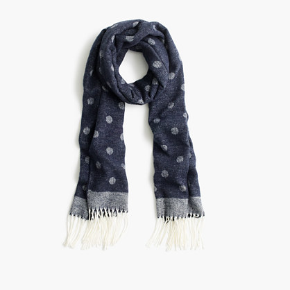 Brushed scarf with polka dots