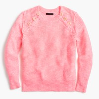 Textured sweater with anchor buttons in variegated pink