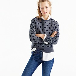 Textured polka dot raglan sweatshirt