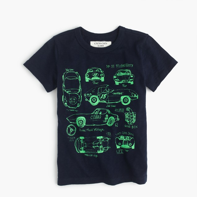 Boys' glow-in-the-dark car blueprint T-shirt