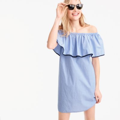 Tipped off-the-shoulder dress in end-on-end cotton