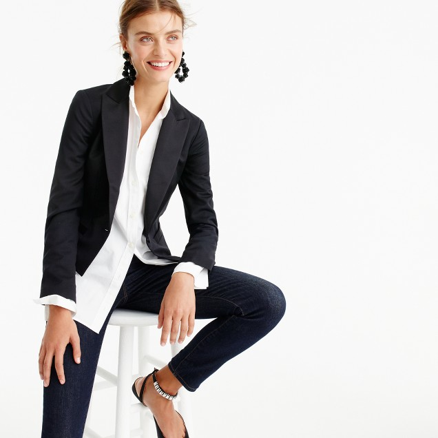 Collection cropped tuxedo jacket in Italian wool