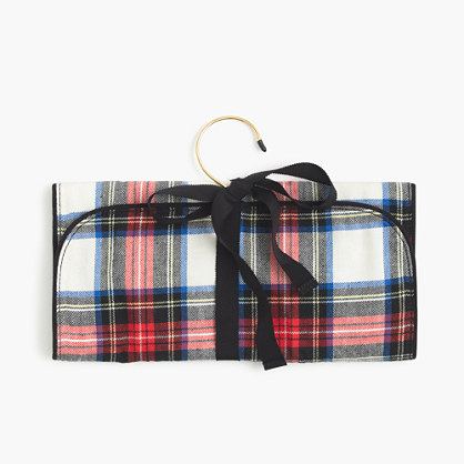 Festive plaid jewelry roll
