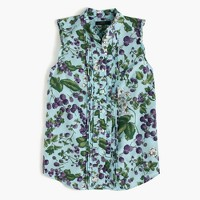 Sleeveless ruffle button-up in Ratti® fruity floral print