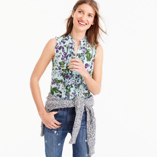 Tuxedo-pleated top in Ratti® morning floral print