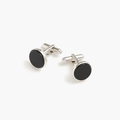 Black onyx sterling silver rounded cuff links