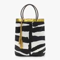 Collection tote in calf hair and leather