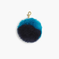 Faux-fur colorblock pom-pom