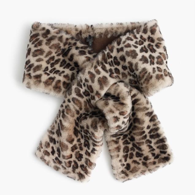 Leopard shearling stole