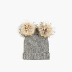 Girls' double pom-pom beanie hat in grey