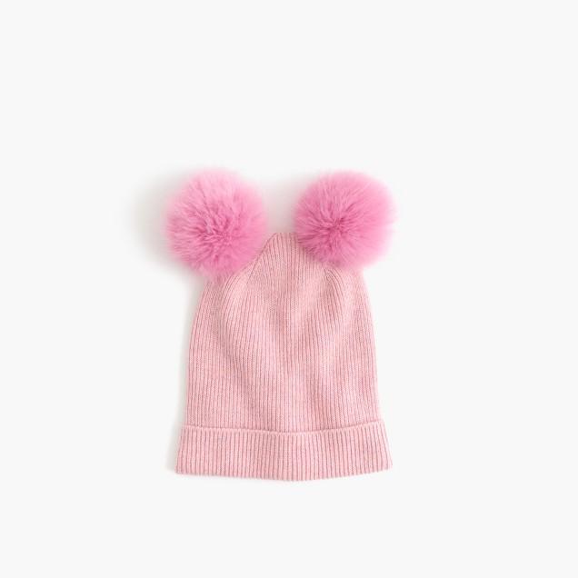 Girls' double pom-pom beanie hat in pink