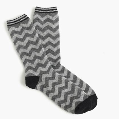 Trouser socks in chevron print