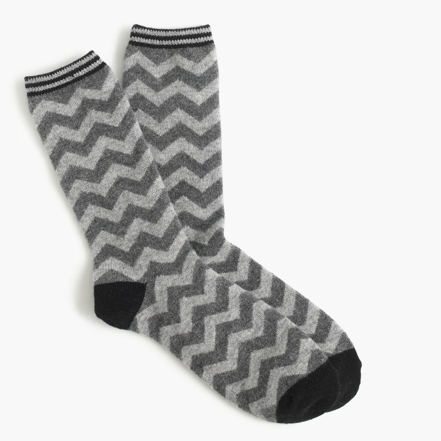 Trouser socks in chevron print