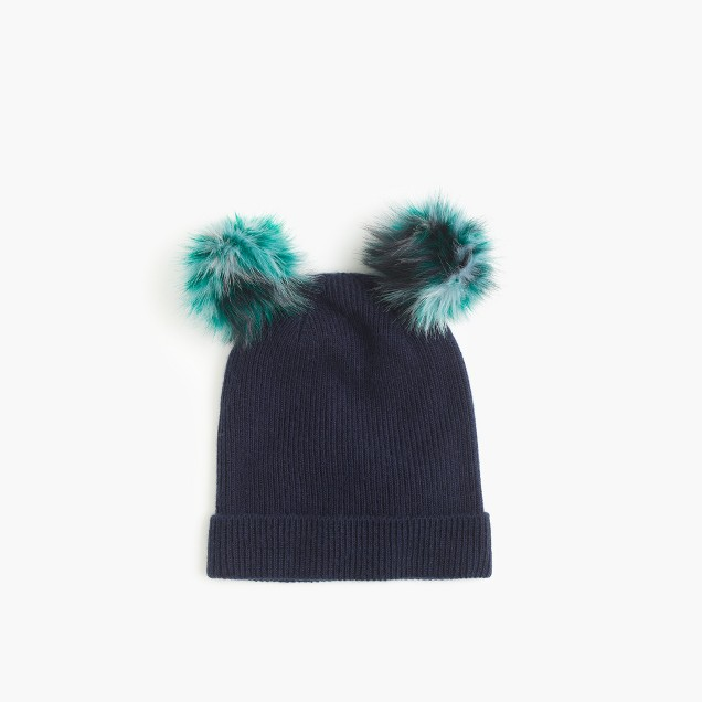 Girls' double pom-pom beanie hat in navy