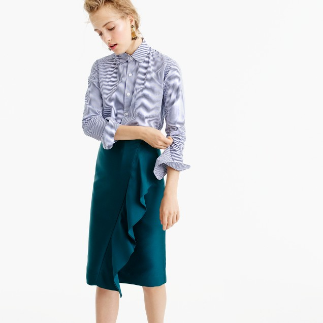 Collection ruffle pencil skirt in double-faced satin
